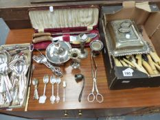 A QTY OF PLATED CUTLERY,ETC.