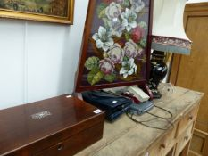 A VICTORIAN ROSEWOOD BOX, A VICTORIAN BEADWORK AND EMBROIDERED PANEL, HANDBAGS AND A LAMP.
