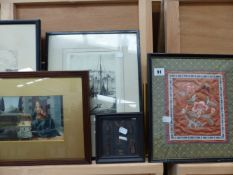 TWO ORIENTAL SILK PANELS AND A QTY OF PRINTS AND PICTURES.