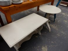 TWO PAINTED OCCASIONAL TABLES.