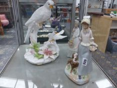LARGE DOVE POTTERY CENTREPIECE TOGETHER WITH TWO SPANISH FIGURINES.