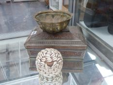 A HUNTLEY AND PALMER BISCUIT TIN TOGETHER WITH INTERESTING SHELL AND WOVEN BASKET.