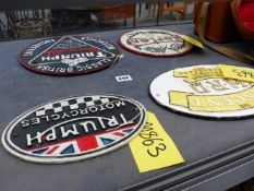 FOUR REPRODUCTION MOTORCYCLE MARQUEE PLAQUES.