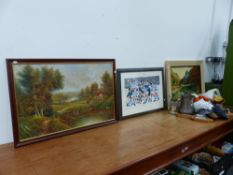 TWO OIL PAINTINGS AND A SIGNED PRINT.