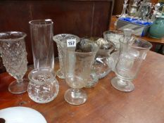 A 19th.C.ETCHED GLASS VASE AND OTHER GLASSWARES.