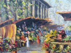 A MID CENTURY OIL ON BOARD CONTINENTAL FLOWER MARKET.