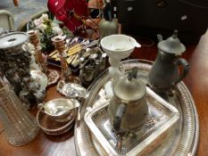 A QTY OF PLATEDWARE, ETC.