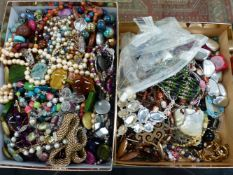 TWO BOXES OF COSTUME JEWELLERY.
