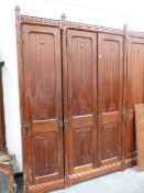 A LARGE VICTORIAN GOTHIC PINE LINEN PRESS.