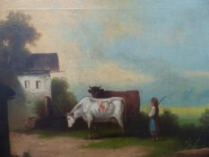 A 19th.C.ENGLISH SCHOOL OIL ON CANVAS FARM SCENE WITH CATTLE.