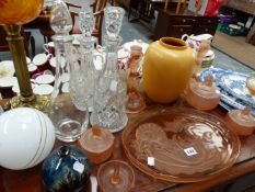 AN ART DECO GLASS DRESSING TABLE SET, AN OIL LAMP, CHINAWARES, ETC.
