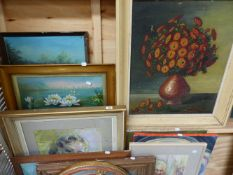 A GROUP OF VARIOUS OIL PAINTINGS, WATERCOLOURS, PRINTS AND A MIRROR.