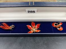 A SIGNED SCHARNING NORWAY STERLING SILVER ENAMELLED BROOCH AND TWO FURTHER NORWEGIAN BROOCHES.