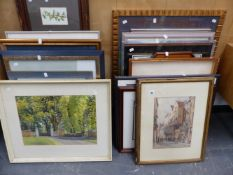 A LARGE QTY OF VARIOUS FURNISHING PRINTS, WATERCOLOURS, A DRIED FLOWER DISPLAY,ETC