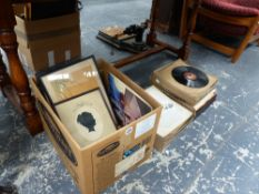 A SILHOUETTE PORTRAIT PICTURE, TWO ORIENTAL STUDIES,A VICTORIAN PRINT AND A QTY OF RECORDS.