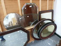 TWO LARGE EARLY 20th.C.OVAL WALL MIRRORS AND FIVE OTHERS.