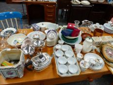 VARIOUS PLATEDWARE, WORCESTER CERAMICS, PICTURES AND ORNAMENTS.