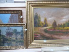 AN OIL ON BOARD CONTINENTAL PARK AND TWO OIL ON CANVAS EASTERN SCENES.