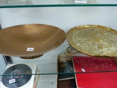 AN ARTS AND CRAFTS BRONZE BOWL AND ONE OTHER.
