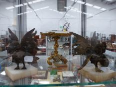 ORMALU TAZZA TOGETHER WITH TWO MOUNTED COCKS.