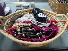BASKET OF VARIOUS COSTUME JEWELLEY.