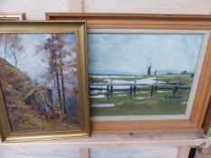 AN OIL ON BOARD SIGNED DAVID HEWITT AND ONE OTHER.