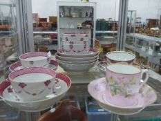 RUSSIAN COFFEE CAN AND SAUCER TOGETHER WITH ENGLISH FAMILLE ROSE STYLE TEA BOWLS AND SAUCERS.