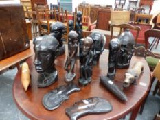 A QTY OF AFRICAN CARVED HARDWOOD FIGURES.