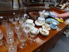 VARIOUS CUT GLASS, CHINAWARES, ETC.