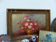 A LARGE GILT FRAMED OIL ON CANVAS STILL LIFE OF FLOWERS.