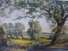 A LARGE OIL ON CANVAS RURAL SCENE WITH CATTLE.