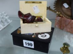 PIETRA DURA BOX TOGETHER WITH IVORY BOX AND A PAIR OF MAHOGANY SHOES.