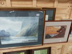 A GROUP OF THREE WATERCOLOUR HIGHLAND LOCH SCENES BY E. GREIG-HALL AND A PASTEL STUDY OF POODLES