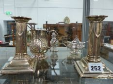 HALLMARKED SILVER TO INCLUDE A PAIR OF CANDLESTICKS.