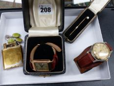 A 9ct. GOLD FEDERAL WATCH TOGETHER WITH A DUNHILL LIGHTER, A 9ct. GOLD PEARL STICK PIN, ETC.