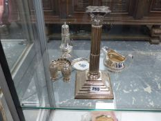 VARIOUS HALLMARKED SILVER TO INCLUDE A NEO CLASSICAL CANDLE STICK WITH LATER LAMP CONVERSION.