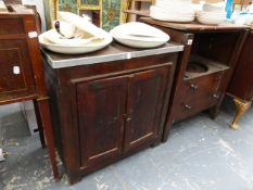 A GEORGIAN COMMODE, A BEDSIDE CABINET AND A CUPBOARD.