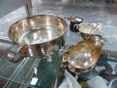 VARIOUS HALLMARKED SILVER SAUCE BOATS AND PLATED WARE.