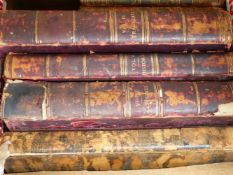 VARIOUS LEATHER BOUND BOOKS TO INCLUDE THREE VOLUMES OF PLAYS.