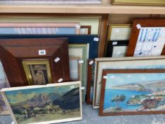 A QTY OF OIL PAINTINGS, WATERCOLOURS AND PRINTS.