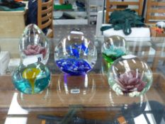 FIVE VARIOUS PAPERWEIGHTS.