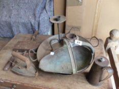 VARIOUS COPPER AND IRON ITEMS, ETC.