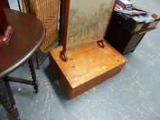 A SMALL PINE BOX AND A FIRE SCREEN.