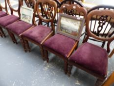 A SET OF SEVEN VICTORIAN MAHOGANY DINING CHAIRS.