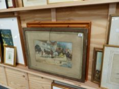 A MODERN PINE FRAMED PRINT AND AN ANTIQUE COACHING SCENE.