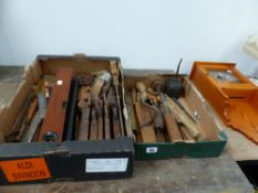 TWO BOXES OF VARIOUS TOOLS.