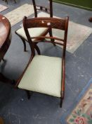 TWO PAIRS OF VICTORIAN DINING CHAIRS.
