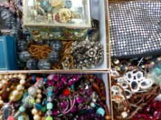 THREE BOXES OF MIXED COSTUME JEWELLERY.