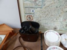 A VINTAGE PAIR OF ZEISS BINOCULARS AND A MAP OF NORTHAMPTONSHIRE.