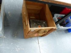 A MILITARY PACKING CRATE AND AN AMMO BOX.